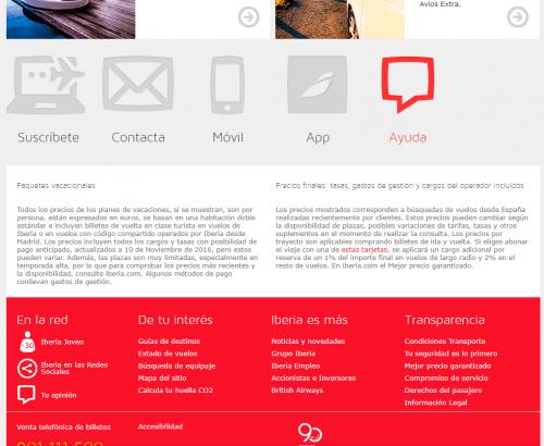 Iberia muestra en su web claramente su apartado de ayuda al usuario