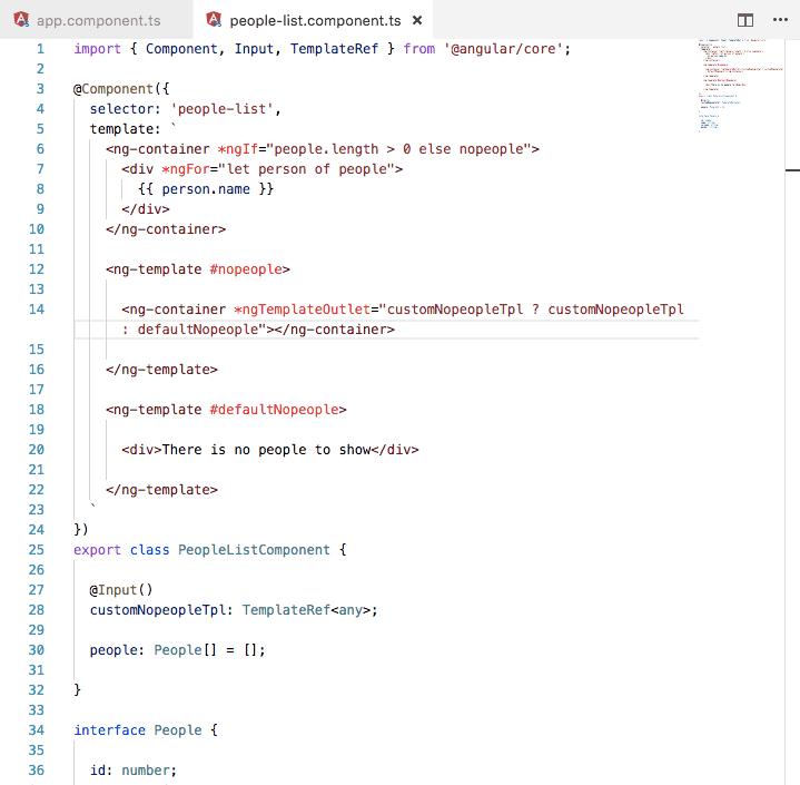 configurando los componentes con templates de entrada en Angular