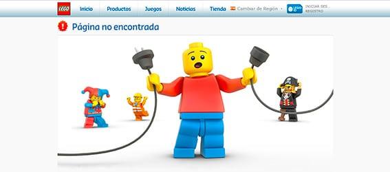 """La página 404 de Lego indica """"Página no encontrada"""" para que el usuario entienda el error"""
