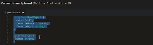 Visual Studio Code plugin JSON to TS