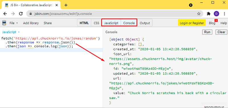 Activar las pestañas de JavaScript y de Console en JSBIN