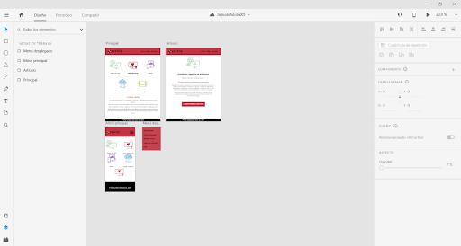 Interfaz de Adobe XD