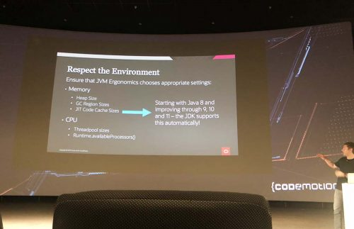 Slide: Respect the environment: ensure that JVM ergonomics chooses appropriate settings