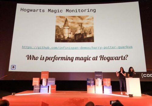 Slide: Hogwarts Magic Monitoring (Imagen castillo hogwarts) https://github.com/infinispan-demos/harry-potter-quarkus - Who is performing magic at Hogwarts?
