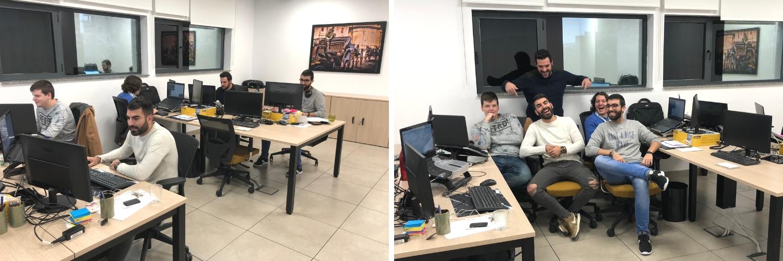 Los cmpañeros de Profile Sevilla en su nuevo box