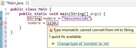 Ejemplo de tipado estático en Java