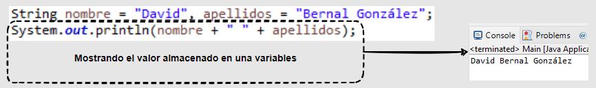 Ejemplo de uso de una variable en Java