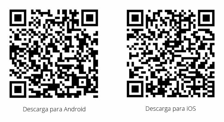 Códigos QR para descargar la app Sknife Code en iOS y Android