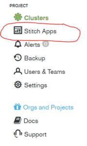 1. Seleccionar Stitch Apps en el menú del proyecto